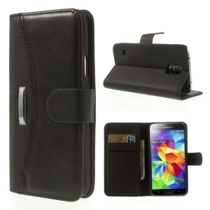 Lychee Magnetic Leather Cover w/ Card Slots for Samsung Galaxy SV GS 5 G900 - Coffee