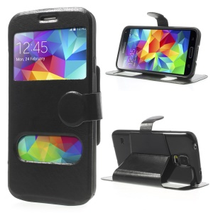 Crazy Horse Table Talk Window Magnetic Flip Leather Case for Samsung Galaxy SV G900 - Black