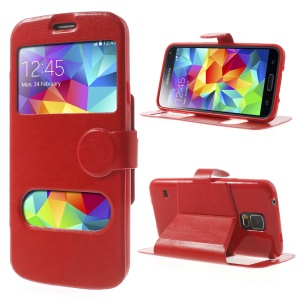 Crazy Horse Table Talk Window Flip Leather Stand Cover for Samsung Galaxy SV G900H - Red