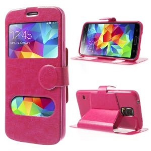 Crazy Horse Table Talk Window Flip Leather Stand Case for Samsung Galaxy SV G900K - Rose