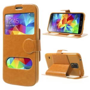 Crazy Horse Table Talk Window for Samsung Galaxy SV G900A PU Leather Case Stand - Orange