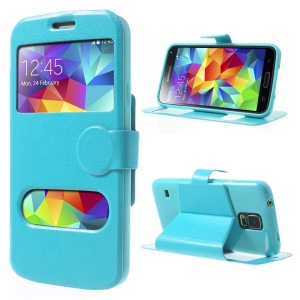 Crazy Horse Table Talk Window for Samsung Galaxy SV G900T Flip Leather Case - Sky Blue