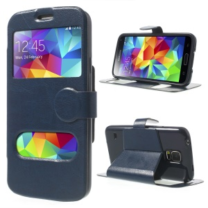 Crazy Horse Table Talk Window for Samsung Galaxy SV G900V Flip Leather Case - Deep Blue