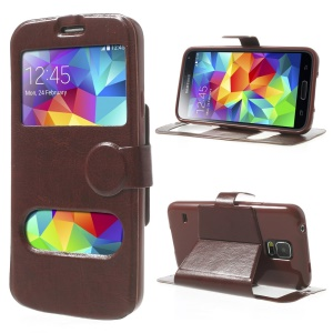 Crazy Horse Table Talk Window for Samsung Galaxy SV G900P Magnetic Leather Cover - Coffee