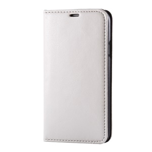 White Dual Suction Cups Crazy Horse Leather Case Stand for Samsung Galaxy S5 G900