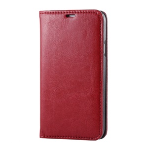 Red for Samsung Galaxy S5 G900 Dual Suction Cups Crazy Horse Leather Cover Stand