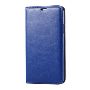 Blue for Samsung Galaxy SV G900 Dual Suction Cups Crazy Horse Leather Flip Cover w/ Stand