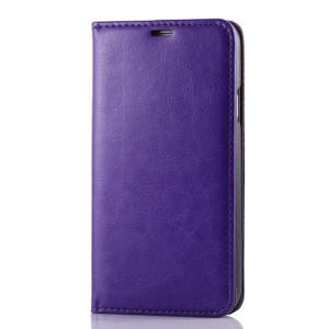 Purple for Samsung Galaxy SV G900 Dual Suction Cups Crazy Horse Leather Side Flip Cover w/ Stand