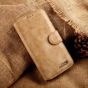 Khaki Golden Phoenix Retro Genuine Split Leather Wallet Case w/ Stand for Samsung Galaxy S5 G900