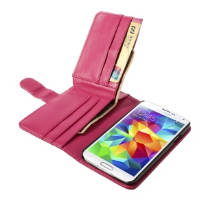 Wallet Design Magnetic Flip Leather Case Cover for Samsung Galaxy S5 G900F G900K - Rose