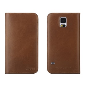 ROCK for Samsung Galaxy S5 G900 Genuine Cowhide Leather Wallet Leather Cover - Brown