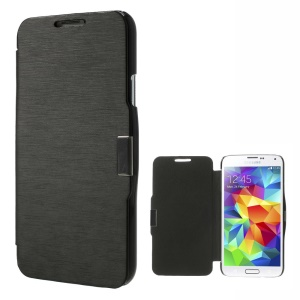 Metal Magnetic Flip PU Leather + Plastic Case for Samsung Galaxy SV GS 5 G900 - Black