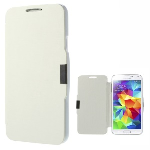 Metal Magnetic Flip PU Leather + Plastic Cover for Samsung Galaxy SV GS 5 G900 - White