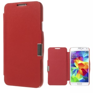 Magnetic Flip PU Leather Front + PC Back Cover for Samsung Galaxy SV GS 5 G900 - Red
