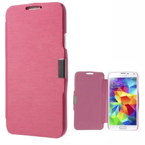 Magnetic Flip PU Leather Front + PC Back Case for Samsung Galaxy SV GS 5 G900 - Rose