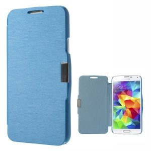 Magnetic Flip PU Leather + PC Case Cover for Samsung Galaxy SV GS 5 G900 - Sky Blue