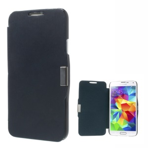 Magnetic Flip PU Leather + PC Case Cover for Samsung Galaxy SV GS 5 G900 - Dark Blue