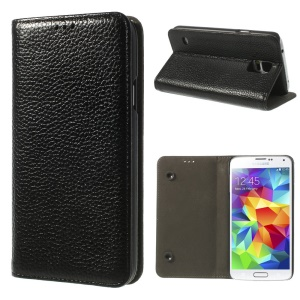Black Dual Suction Cups Litchi Skin Genuine Leather Stand Case for Samsung Galaxy SV GS 5 G900