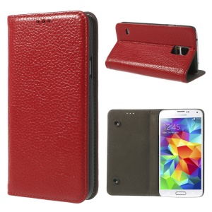 Red Dual Suction Cups Litchi Skin Genuine Leather Stand Cover for Samsung Galaxy SV GS 5 G900