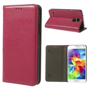 Rose Dual Suction Cups Litchi Skin Genuine Leather Case w/ Stand for Samsung Galaxy SV GS 5 G900