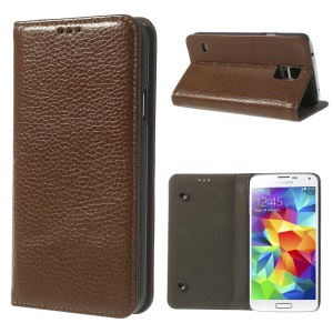 Brown Dual Suction Cups Litchi Skin Genuine Leather Cover w/ Stand for Samsung Galaxy SV GS 5 G900