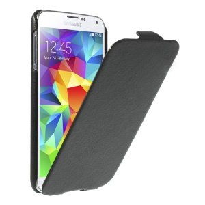 Black Lychee Skin PU Leather Vertical Flip Case for Samsung Galaxy S5 G900P
