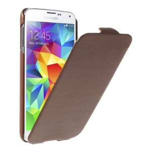 Brown Lychee Skin Vertical Leather Flip Shell for Samsung Galaxy S5 G900I
