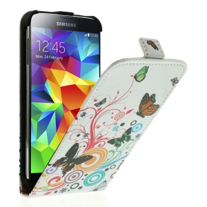 Butterfly Circles PU Leather Vertical Cover for Samsung Galaxy S5 G900
