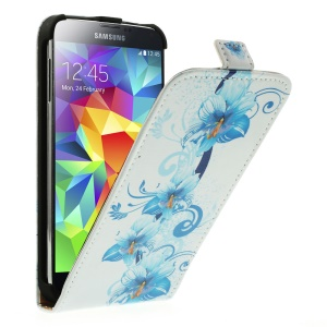 Blue Flowers Vertical Leather Case Accessory for Samsung Galaxy S5 G900