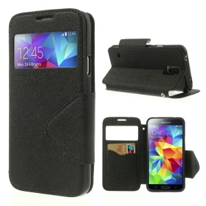 Roar Korea Fancy Diary View Window Magnetic Leather Case for Samsung Galaxy S5 G900 - Black