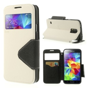 Roar Korea Fancy Diary View Window Magnetic Leather Case for Samsung Galaxy S5 G900 - White