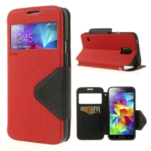 Roar Korea Fancy Diary View Window Leather Flip Case for Samsung Galaxy S5 G900 - Red