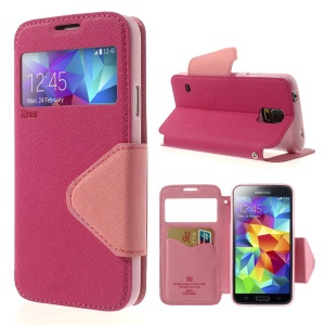 Roar Korea Fancy Diary View Window Leather Flip Case for Samsung Galaxy S5 G900 G900T - Rose