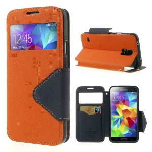 Roar Korea Fancy Diary View Window Leather Flip Cover for Samsung Galaxy S5 G900 G900A - Orange
