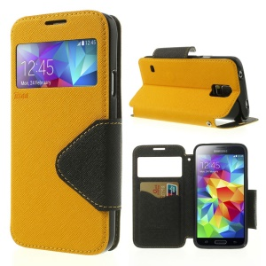 Roar Korea Fancy Diary View Window Leather Cover for Samsung Galaxy S5 G900 G900R4 - Yellow