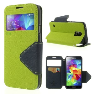 Roar Korea Fancy Diary for Samsung Galaxy S5 G900 G900P View Window Leather Cover - Green