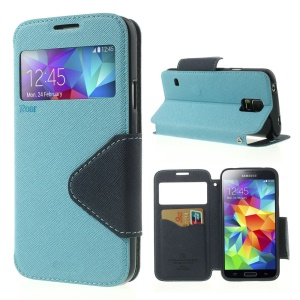 Roar Korea Fancy Diary for Samsung Galaxy S5 G900 G900H View Window Leather Skin Cover - Light Blue