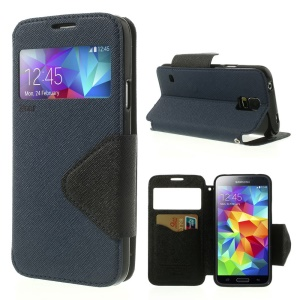Roar Korea Fancy Diary for Samsung Galaxy S5 G900 G900K View Window Leather Shell - Dark Blue