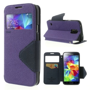 Roar Korea Fancy Diary for Samsung Galaxy S5 G900 G900V View Window Leather Case - Purple