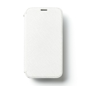 White Zenus Minimal Diary for Samsung Galaxy S5 G900 Luxurious Saffiano Genuine Leather Wallet Cover
