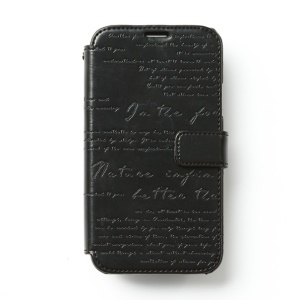 Zenus Lettering Diary Magnetic Leather Flip Wallet Case for Samsung Galaxy S5 G900 - Black