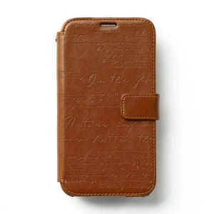 Zenus Lettering Diary Magnetic Leather Flip Wallet Cover for Samsung Galaxy S5 G900 - Brown