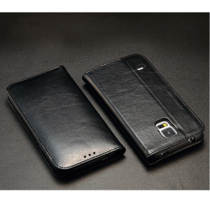 KLD Royale Series Leather Wallet Case w/ Stand for Samsung Galaxy SV GS 5 G900 - Black