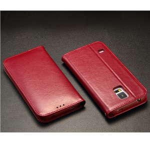 KLD Royale Series Leather Wallet Cover w/ Stand for Samsung Galaxy SV GS 5 G900 - Red
