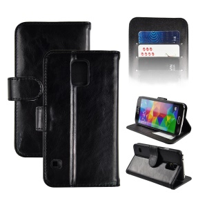 Angibabe Genuine Leather Magnetic Flip Credit Card Slot Case for Samsung Galaxy SV G900 - Black