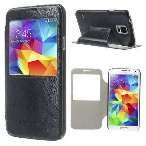 Mouse Lines Window View Leather Stand Case for Samsung Galaxy S5 G900 - Black