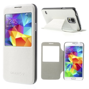 Mouse Lines Window View Stand Leather Cover for Samsung Galaxy S5 G900 - White