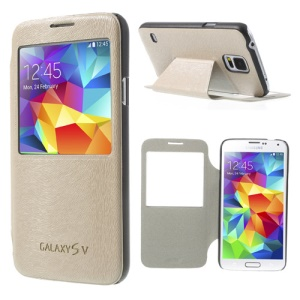 Window View Mouse Lines Leather Phone Case for Samsung Galaxy S5 G900 - Beige
