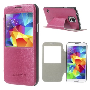 Window View Mouse Lines Stand Leather Shell for Samsung Galaxy S5 G900 - Rose
