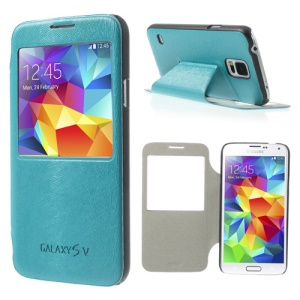 Mouse Lines Window View Leather Skin Case for Samsung Galaxy S5 G900 - Cyan